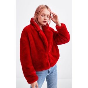 Zara Faux Fur Red Coat Jacket